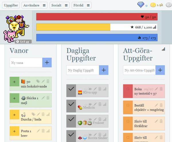 Överst avatar (människa rider på lejon med rosa varg framför) samt bars i rött, gult och blått. Nedanför tre kolumner: Vanor, Dagliga uppgifter och Att-göra-uppgifter. Uppgifterna markeras med olika färger.